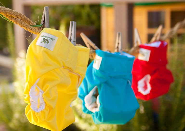 nappies on clothes line